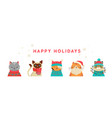 merry christmas banner with cute cats vector image vector image