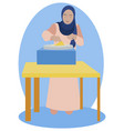 muslim woman cooking pancakes in minimalist style vector image