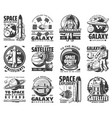 outer space exploration galaxy astronaut icons vector image vector image