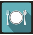 Plate with spoon and fork icon flat style vector image vector image