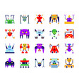 robot simple flat color icons set vector image vector image