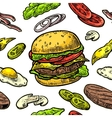 Seamless pattern burger include cutlet tomato vector image vector image
