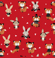seamless pattern with cute bunny and fox in scarf vector image vector image