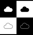 set cloud icons isolated on black and white vector image vector image