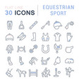 set line icons equestrian sport vector image vector image