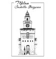 sforza castle or castello sforzesco sketch vector image