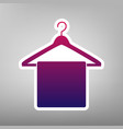 towel on hanger sign purple gradient icon vector image vector image