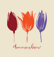 tulip flowers stylish floral card hand drawn vector image vector image
