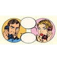 vintage couple man and woman talking on phone vector image vector image