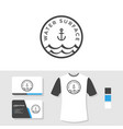water surface logo design with business card vector image vector image