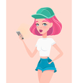 Young hipster girl holding smartphone in her hand vector image vector image