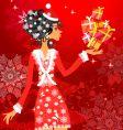 Santa girl with presents vector image