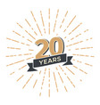 20 th anniversary retro emblem isolated vector image vector image