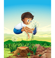 a boy jumping above stump vector image vector image