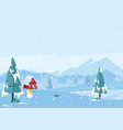 beautiful white winter season landscape flat vector image