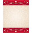 beige valentine background with red floral border vector image vector image