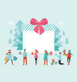 bif gift box christmas banner new year greeting vector image