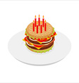 Birthday Hamburger with candles isometrics Festive vector image vector image