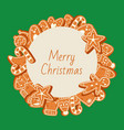 christmas banner made gingerbread cookies vector image vector image