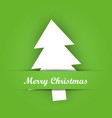 christmas card paper pocket with white tree vector image vector image
