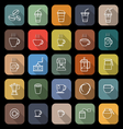 Coffee line flat icons with long shadow vector image vector image