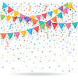 colorful confetti with buntings and ribbons vector image