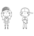 cute modern boy and girl vector image vector image