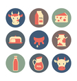 Dairy and milk products flat icons set vector image vector image