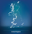 Doodle Map of United Kingdom vector image vector image