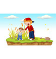 father and son in park vector image