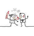 fighting cartoon couple with masks against virus vector image vector image