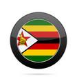 flag of zimbabwe shiny black round button vector image vector image