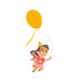 flat cartoon girl kid dancing isolated vector image vector image
