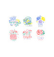 flower shop retro labels collection colorful hand vector image vector image