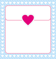 Frame shaped from white heart on blue background vector image vector image