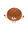 funny smiling round whole wheat dark brown bread vector image vector image