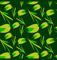 green flowers and tulips on a green vector image vector image