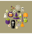 Halloween Witch Flat Icons Set vector image vector image