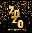 happy new year 2020 gold festive numbers design vector image