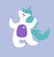 happy unicorn jumping with eyes closed vector image