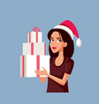 happy woman holding christmas presents vector image
