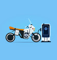 hybrid motor bike charging at electric charge vector image