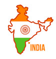 india map flag isolated flat cartoon vector image