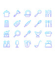 kitchenware simple color line icons set vector image vector image