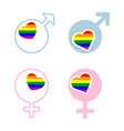 male and female rainbow gay symbols vector image