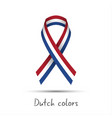 modern colored ribbon with the dutch tricolor vector image vector image