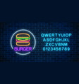 neon glowing sign of burger with alphabet in vector image
