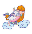 nice girl hugging unicorn in the clouds vector image vector image