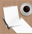 pen coffe and blank paper vector image vector image