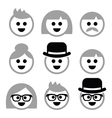 people with grey hair seniors old icons vector image